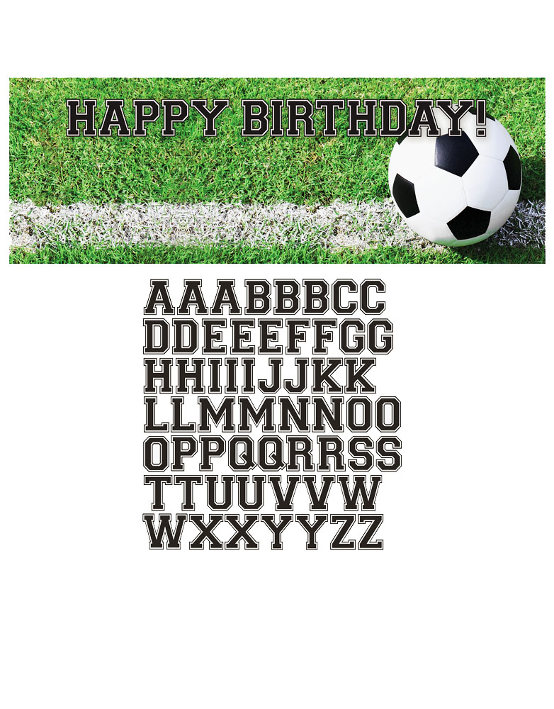 football theme happy birthday giant party banner with letters