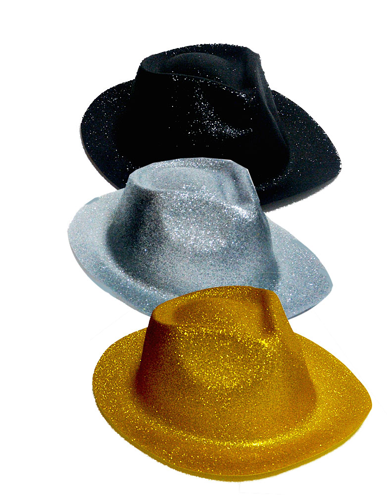 ddcfcff02873f Cowboy Hat Glitter Black-Silver-Gold Glitter - AZ Gift   Trading